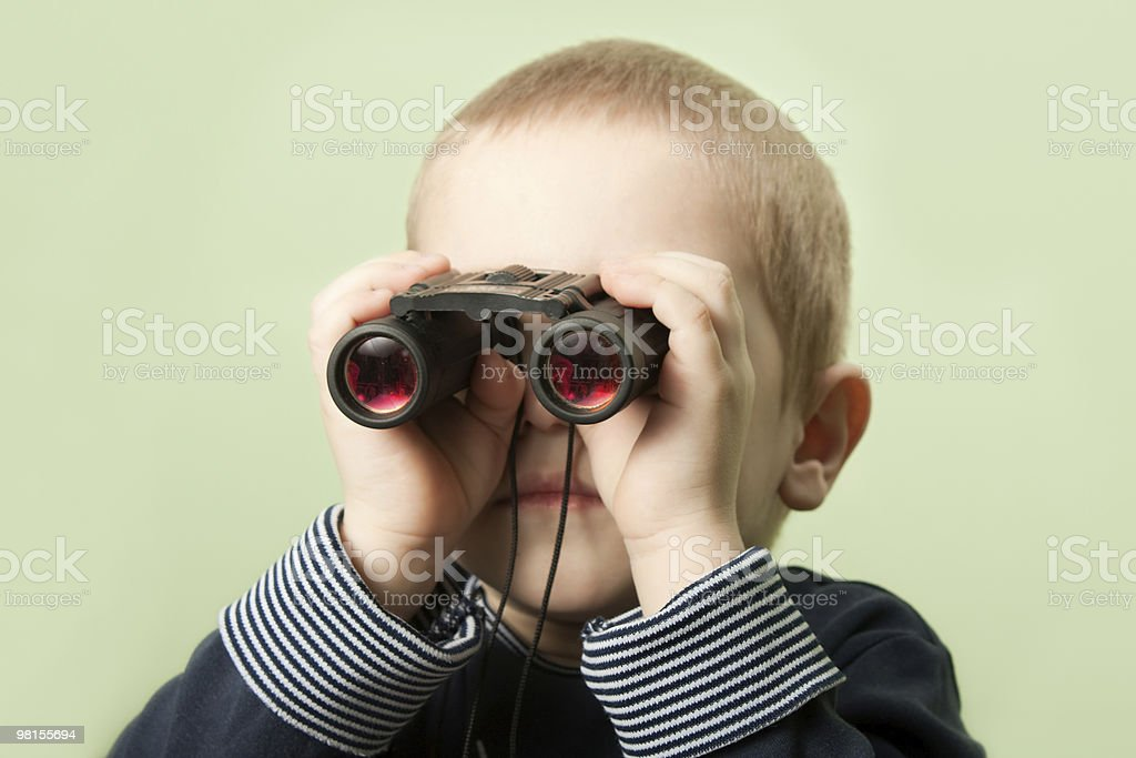 Child with binoculars royalty-free stock photo