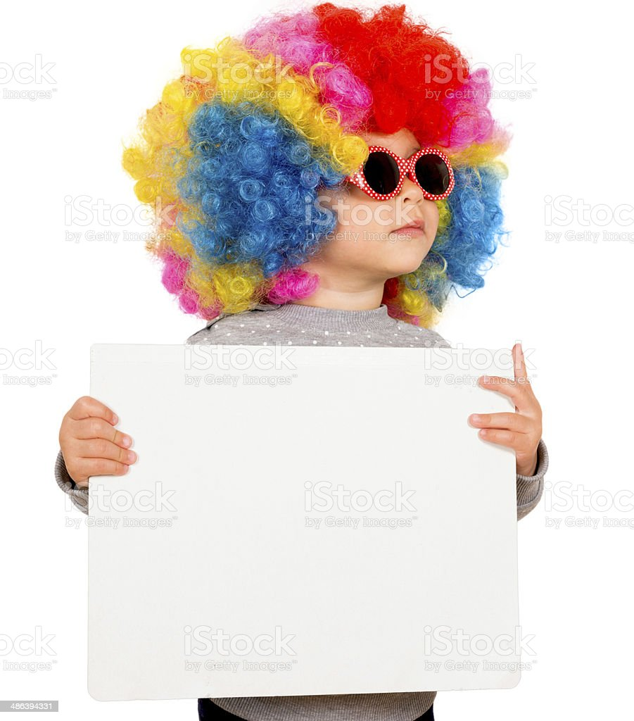 Child with blank board stock photo