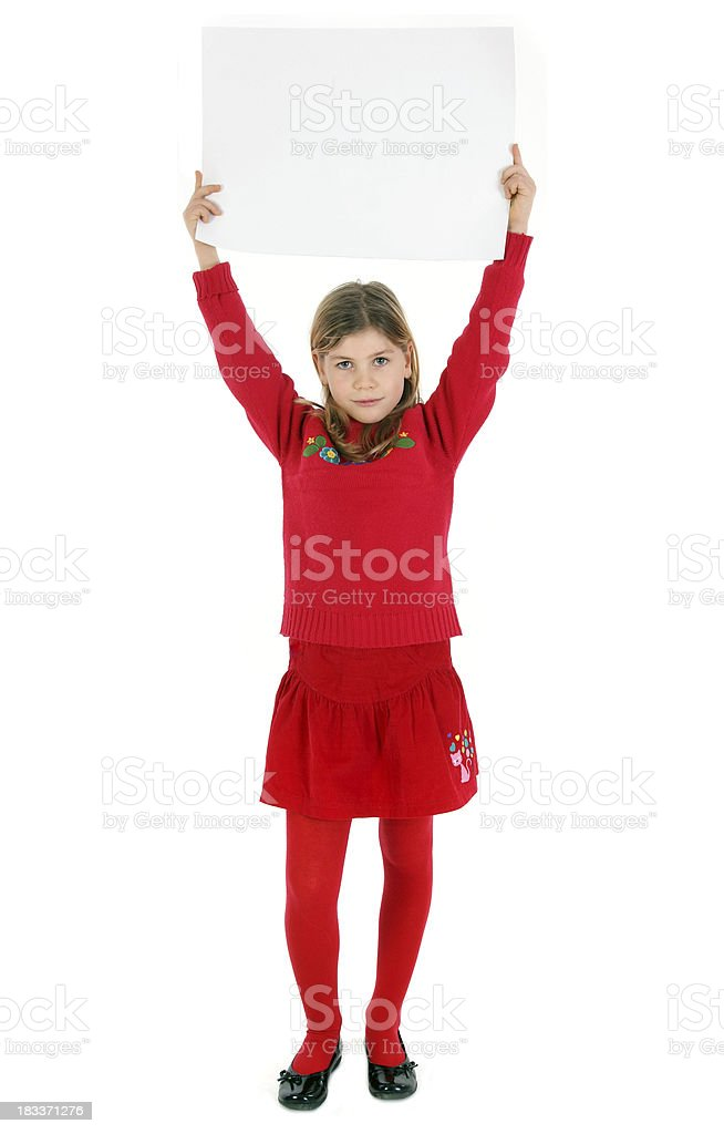child with blank sign royalty-free stock photo
