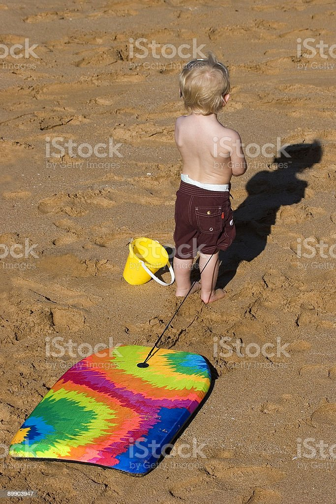 Child with Boogie Board royalty-free stock photo