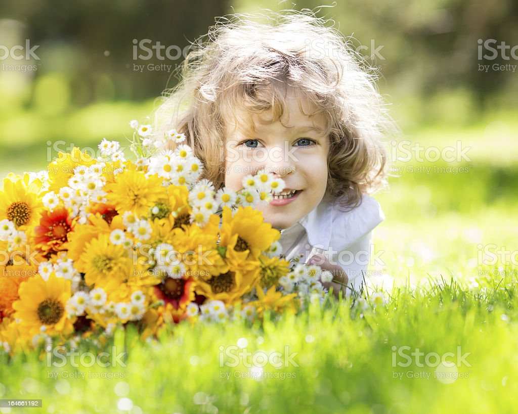 Child with bouquet of flowers royalty-free stock photo