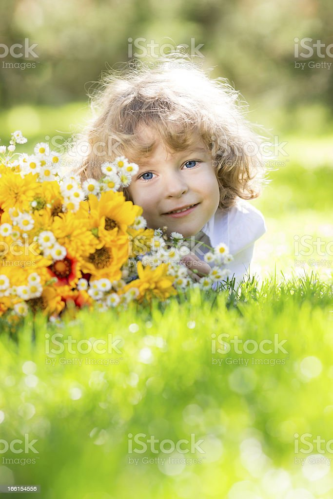 Child with bouquet royalty-free stock photo
