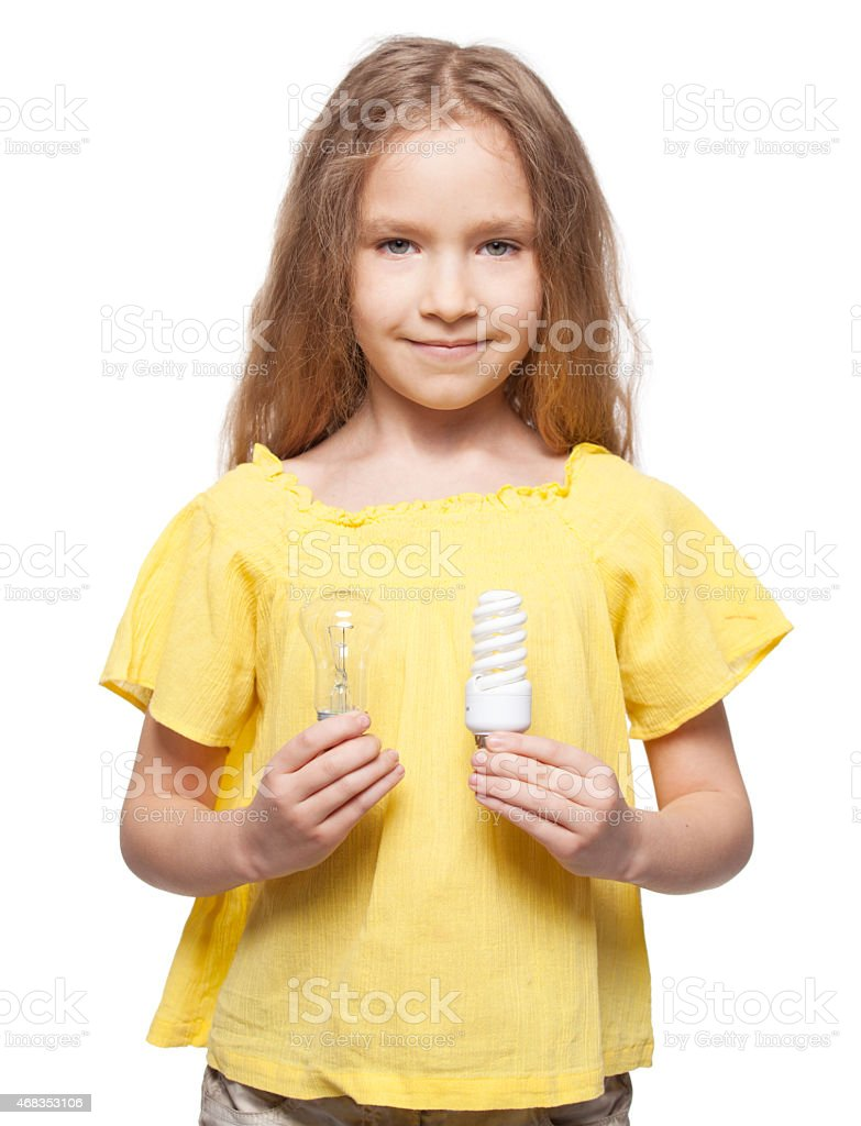 Child with bulbs royalty-free stock photo