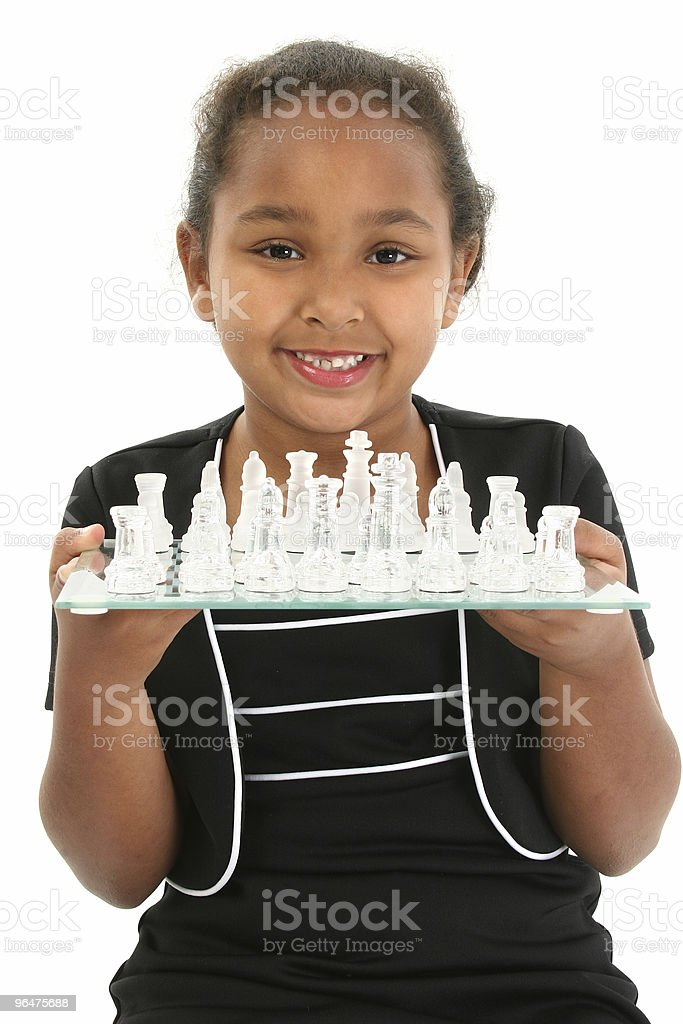Child with Chess Board royalty-free stock photo
