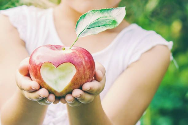 Child with Child with an apple. Selective focus. Child with Child with an apple. Selective focus. Garden Food human parainfluenza virus stock pictures, royalty-free photos & images