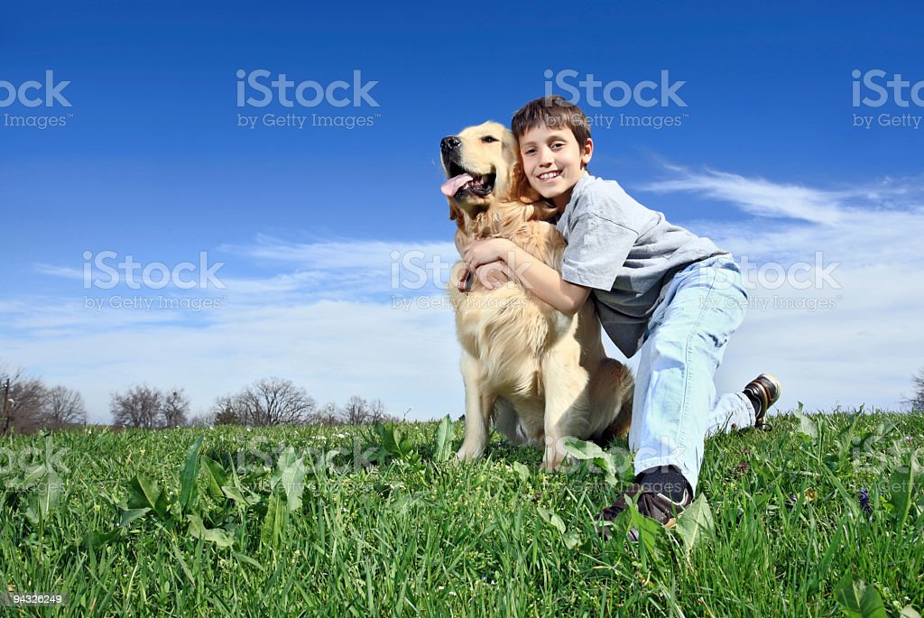 Child with  dog. royalty-free stock photo