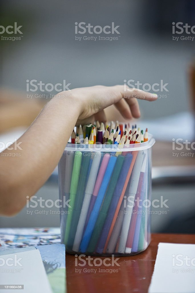 Child with drawing pens royalty-free stock photo