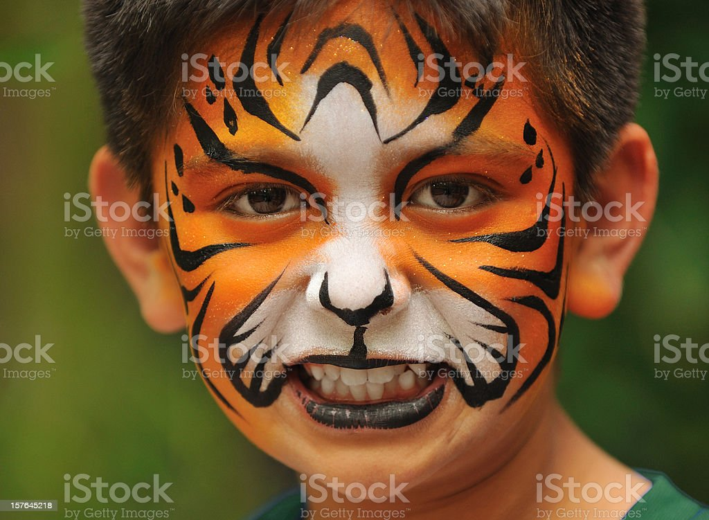 Child with face painted like a tiger royalty-free stock photo
