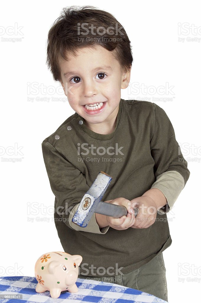 child with money box of piggy royalty-free stock photo