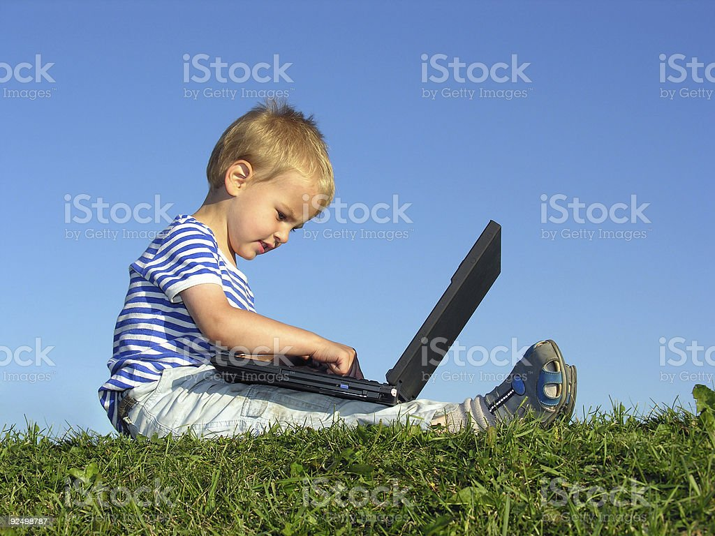 child with notebook sit blue sky royalty-free stock photo