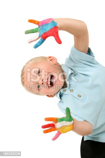 490853703 istock photo Child with Painted Hands Playing 185233226