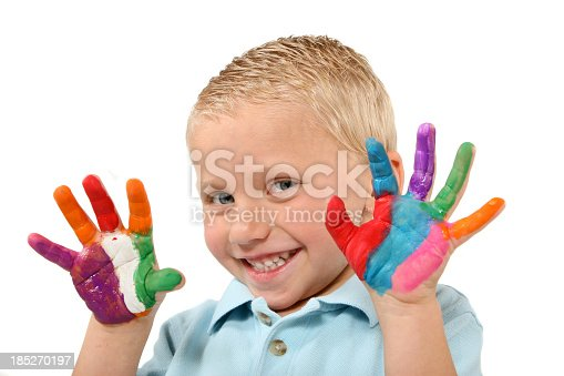 490853703 istock photo Child with painted hands sneeking 185270197