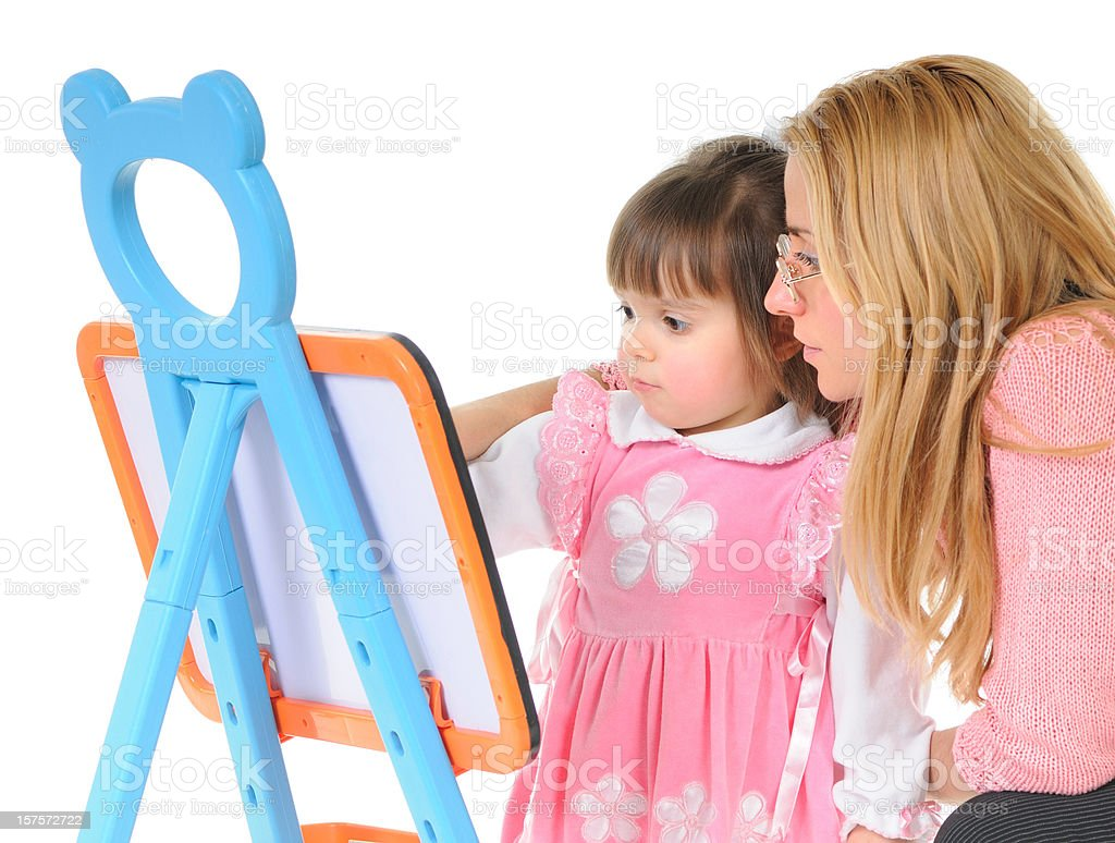 Child with toy blackboard royalty-free stock photo