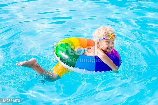 istock Child with toy ring in swimming pool 649871870