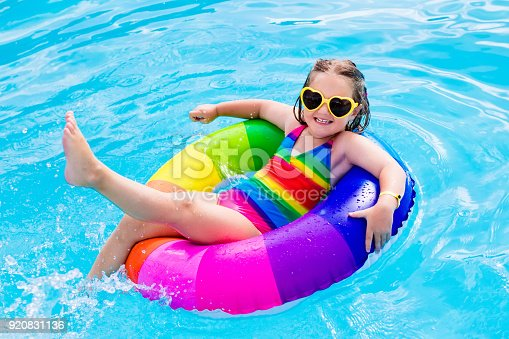 467327992istockphoto Child with toy ring in swimming pool 920831136