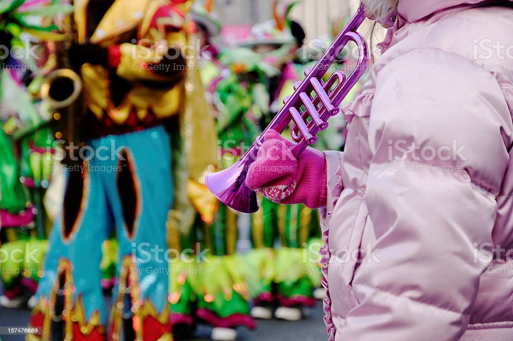 Child with toy trumpet at the parade in Philadelphia stock photo
