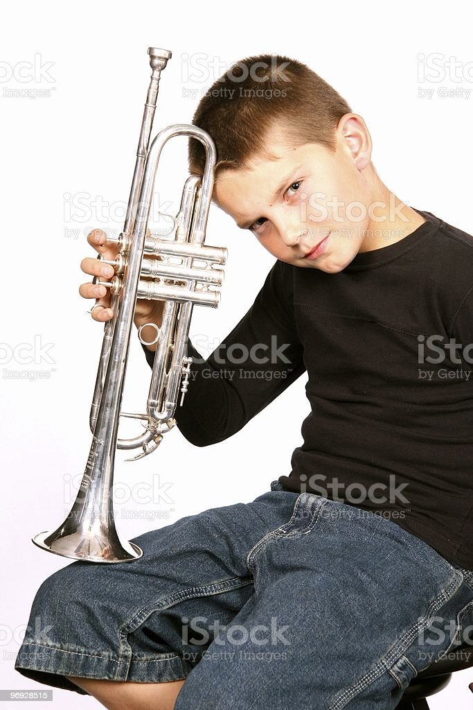 Child With Trumpet Instrument royalty-free stock photo