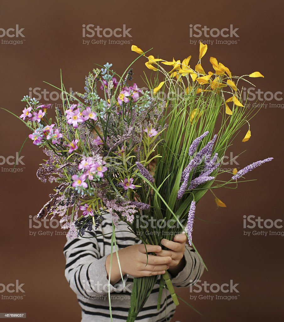 Child with Valentine's Day Flowers stock photo