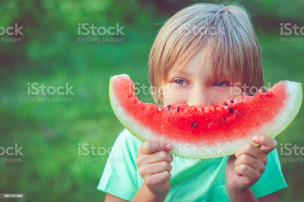 Child with watermelon foto de stock royalty-free