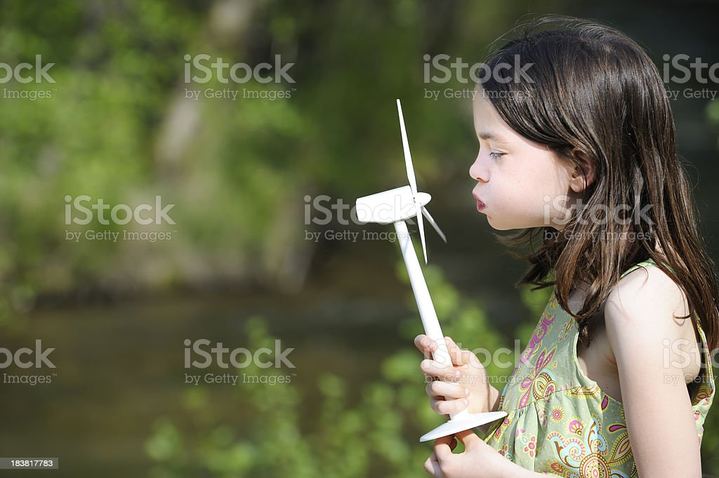 Child with wind and water power royalty-free stock photo