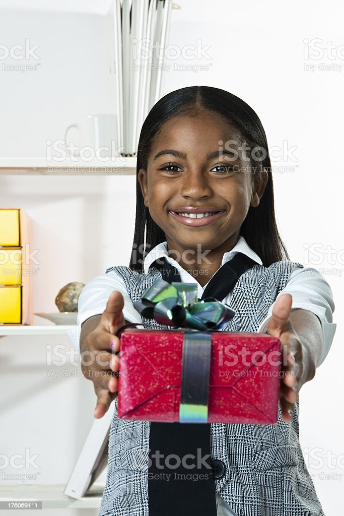 Child Wrapping Gifts royalty-free stock photo