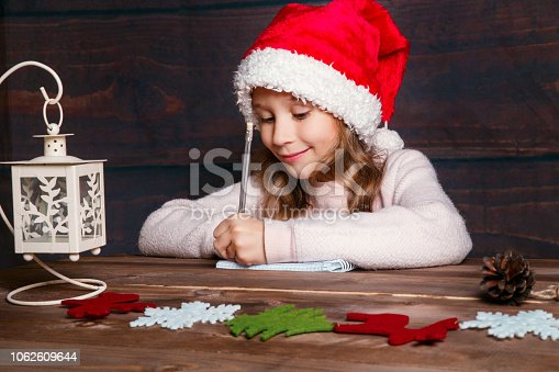 1062609644istockphoto Child writes letter to Santa Claus . Funny girl in Santa hat writes letter to Santa at home 1062609644