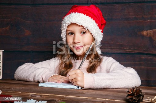 1062609644istockphoto Child writes letter to Santa Claus . Funny girl in Santa hat writes letter to Santa at home 1062609654