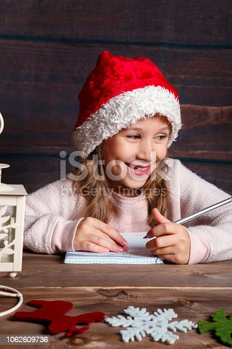 1062609644istockphoto Child writes letter to Santa Claus . Funny girl in Santa hat writes letter to Santa at home 1062609736