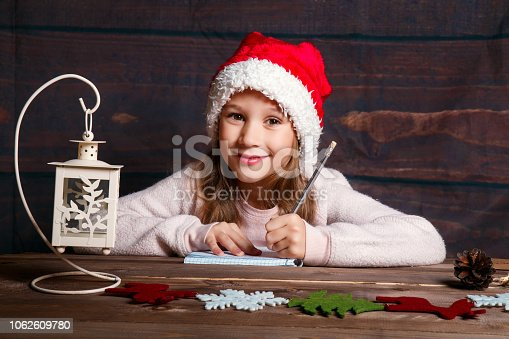 1062609644istockphoto Child writes letter to Santa Claus . Funny girl in Santa hat writes letter to Santa at home 1062609780