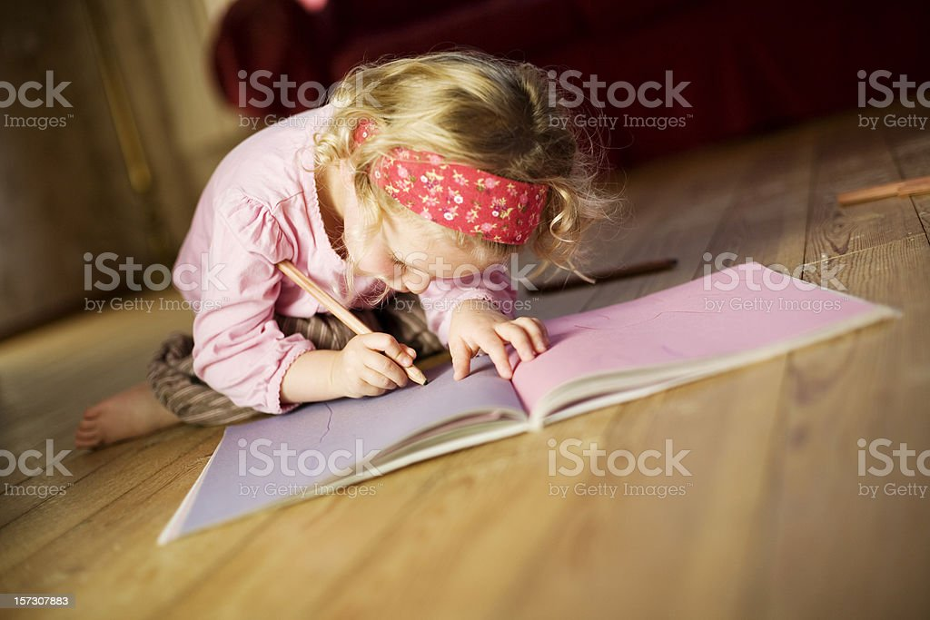 Child writing. royalty-free stock photo