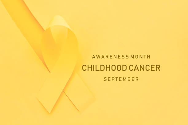 fita do mês da consciência do cancro da infância - setembro amarelo - fotografias e filmes do acervo