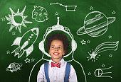 child, blackboard, classroom, astronomy, school
