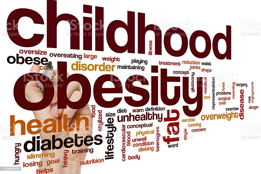 Childhood obesity word cloud stock photo