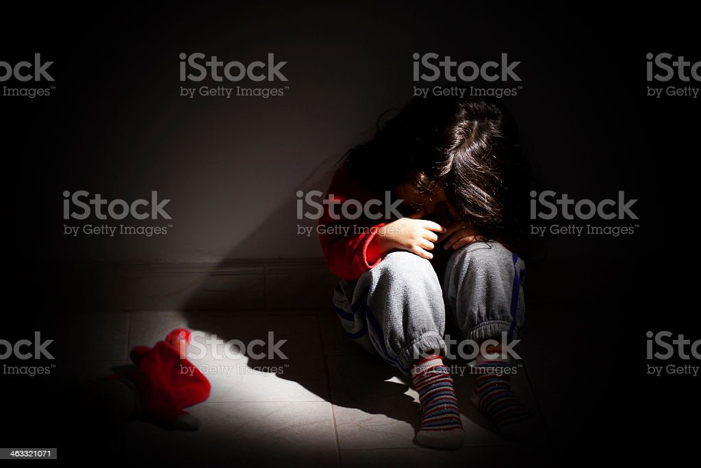 Childhood problems - Child abuse stock photo