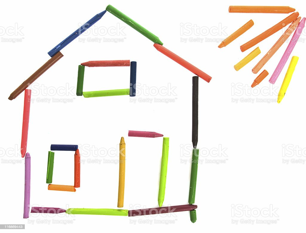 Childish Crayon Drawing of House and Sun, Isolated on White stock photo