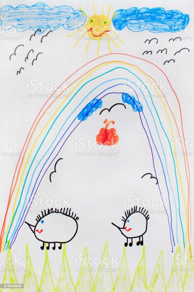 Foto De Desenho Infantil De Arcoiris Engracado Ouricos E Sol E