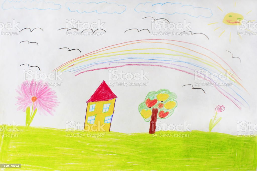 Foto De Desenho Infantil De Casa Arvore E Arcoiris E Mais Fotos De