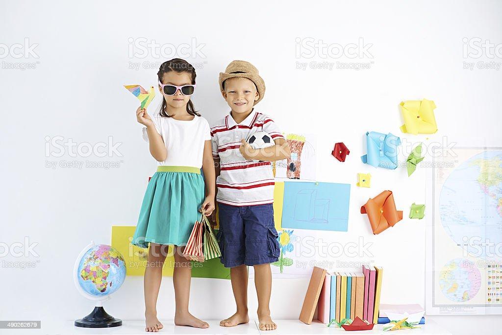 Childish travellers stock photo