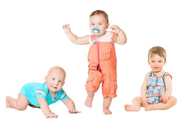 Children Active Growth Portrait, Little Kids, Activity Baby Crawling Sitting stock photo