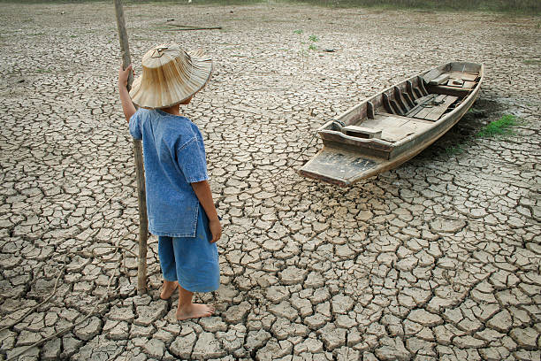Children and climate change stock photo
