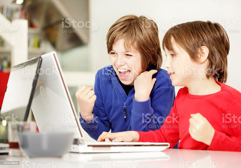 Children and Laptop royalty-free stock photo