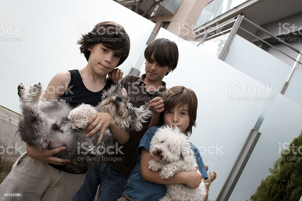 children and pets in yard royalty-free stock photo