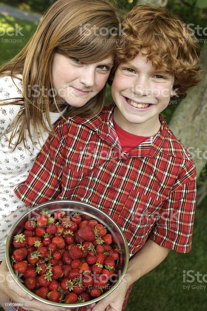 Children and Strawberries royalty-free stock photo