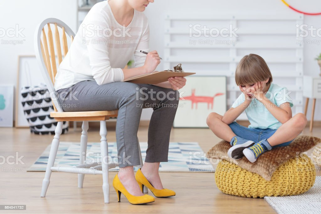 Children anxiety and depression concept stock photo