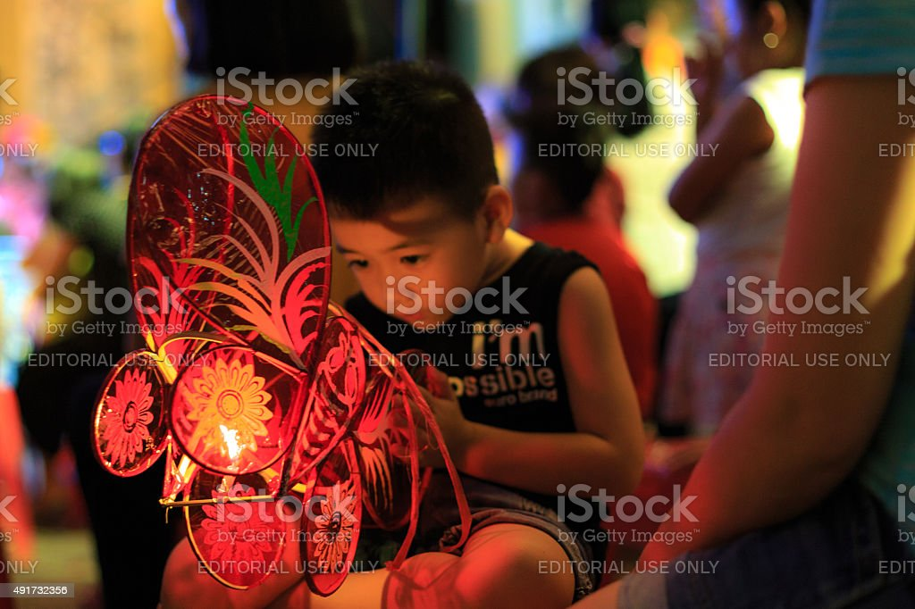 Children are happy to attend mid-autumn festival stock photo