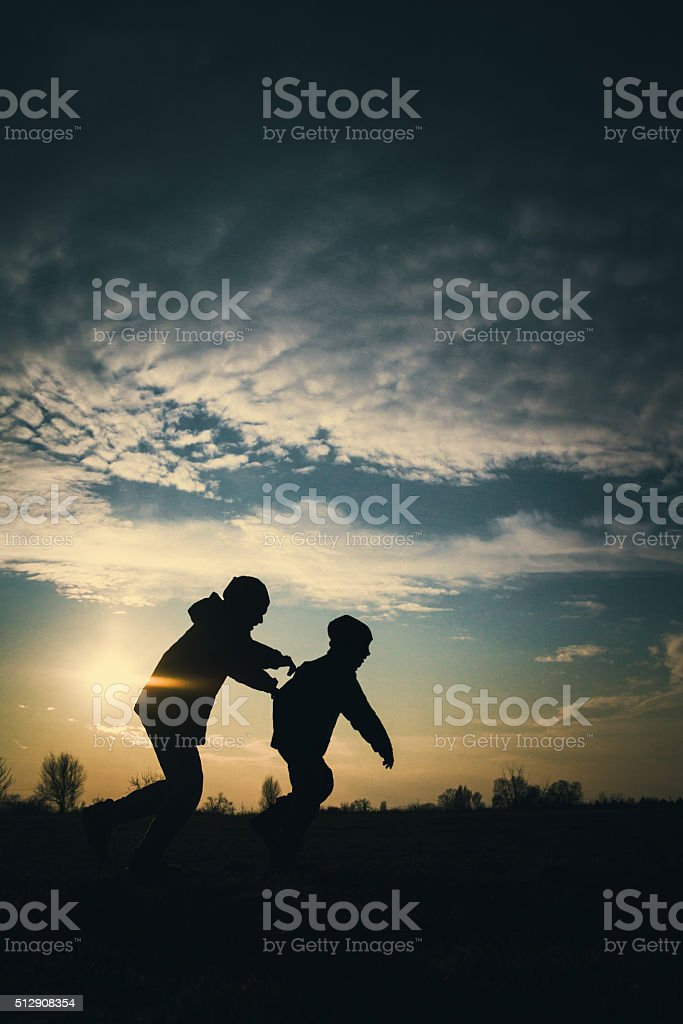 Children are running stock photo