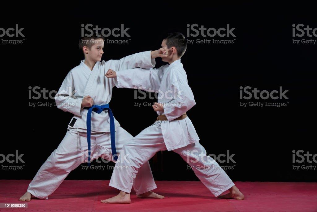 Children are training karate blows stock photo