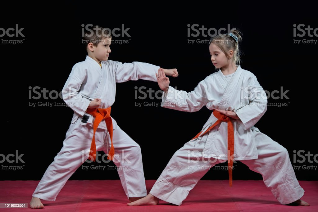 Children are training karate blows stock photo