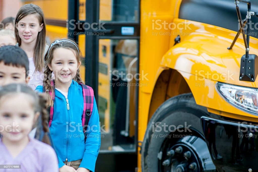 Children Arriving at School stock photo