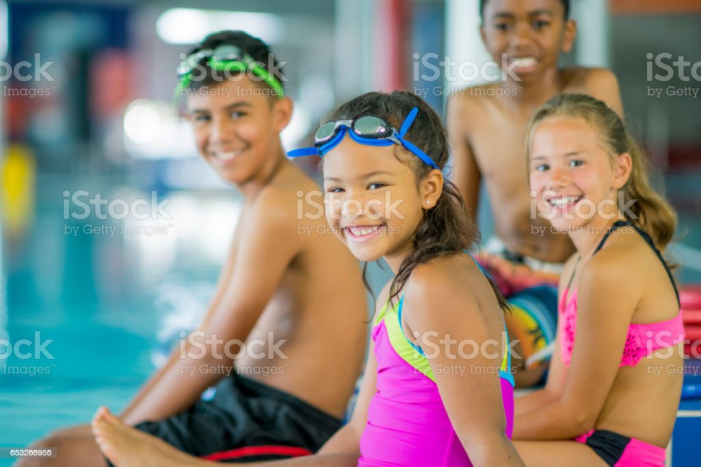 Children at a Swimming Lesson stock photo